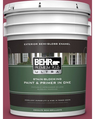 BEHR Premium Plus Ultra 5 gal. #PPU1-16 Haitian Flower Semi-Gloss Enamel Exterior Paint and Primer in One, Reds/Pinks