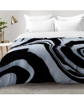 East Urban Home Marble Structure Comforter Set EAHU7619 Size: Full/Queen, Color: Black