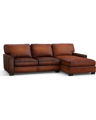 Turner Square Arm Leather Left Arm Sofa with Chaise Sectional with Bronze Nailheads, Down Blend Wrapped Cushions, Burnished Saddle