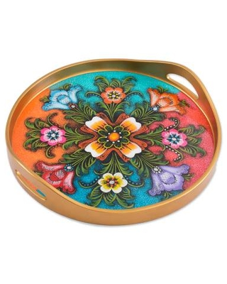 Tulip Motif Reverse-Painted Glass Tray in Multicolor