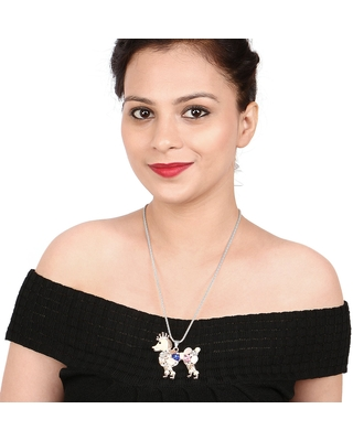 Liliana Bella Rose Gold-plated Metal with White and Blue Crystals Animal Shaped Pendant Necklace (Brown, Pink, Black, Blue & White)