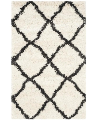 Safavieh Belize Denby Shag 3 x 5 Ivory/Charcoal Indoor Trellis Moroccan Throw Rug in Black/White   SGB489B-3