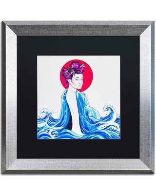 "Trademark Fine Art 'Yume' Acrylic Painting Print on Canvas ALI5863 Size: 11"" H x 11"" W Matte Color: Black Format: Silver Framed"