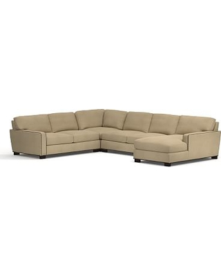 Turner SQ Arm Upholstered Left Arm 4-Piece Chaise Sectional with Bronze Nailheads, Down Blend Wrapped Cushions, Performance Everydaysuede(TM) Light Wheat