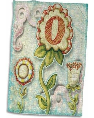 Symple Stuff Granli Cute Quirky Flowers Monogram Letter O Hand Towel W001280893