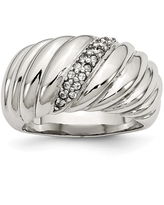Stainless Steel Polished CZ Ring (8)