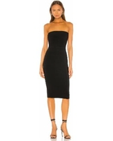 Strapless Knee-length Fitted Dress - Black - Norma Kamali Dresses
