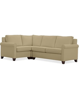 Cameron Roll Arm Upholstered Right Arm 3-Piece Corner Sectional, Polyester Wrapped Cushions, Performance Everydaysuede(TM) Oat