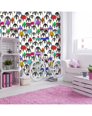 """Penguins in Colorful Hats and Scarves Wallpaper (25""""W x 125""""H)"""