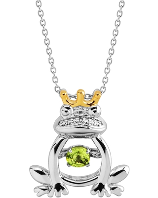 Natural Peridot & Created White Sapphire Frog Prince Floater Pendant Necklace in 14K Gold-Plated Sterling Silver