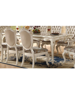 Acme Chantelle Leg Dining Table in Pearl White 63540