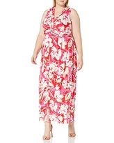 Vince Camuto Women's Printed ITY Maxi Dress, Pink Multi, 12