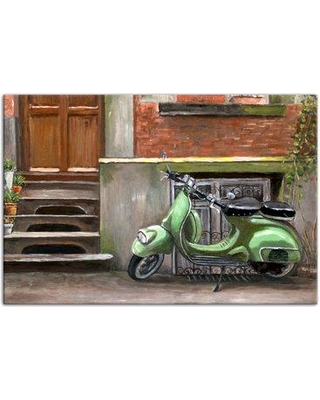 """Ebern Designs 'Mint Green Scooter' Acrylic Painting Print on Canvas EBND6041 Size: 24"""" H x 36"""" W Format: Wrapped Canvas"""