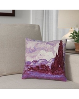 """Red Barrel Studio Lapine Mauve Wheatfield with Cypresses Square Suede Throw Pillow RDBT1914 Size: 14"""" H x 14"""" W"""