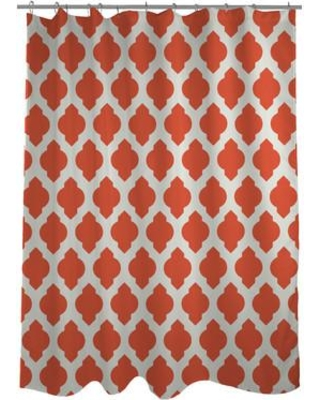 One Bella Casa All Over Moroccan Shower Curtain HMW5340 Color: Orange/Ivory
