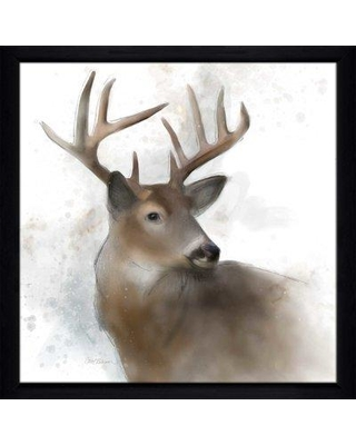 """Millwood Pines 'Rainsoft Deer' Framed Watercolor Painting Print W000692154 Size: 33.5"""" H x 33.5"""" W x 0.75"""" D"""