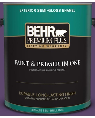 BEHR Premium Plus 1 gal. #S-G-660 Wild Grapes Semi-Gloss Enamel Exterior Paint and Primer in One