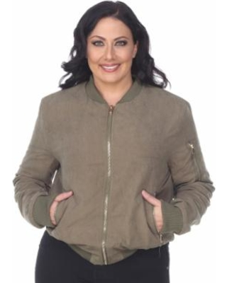 43e9c2df7 Here's a Great Deal on Plus Size White Mark Bomber Jacket, Women's ...
