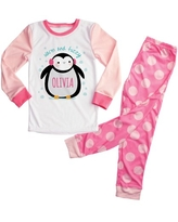 Personalized Pink Penguin Girls Toddler Pajamas - 2T, 3T, 4T, 5/6T
