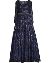 Illusion Sleeve Sequined Gown - Blue - Mac Duggal Dresses