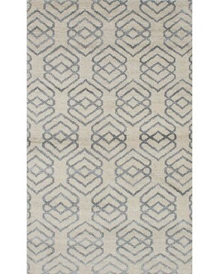 """One-of-a-Kind Groh Hand-Knotted 2010s Cream 4'10"""" x 7'11"""" Wool Area Rug"""