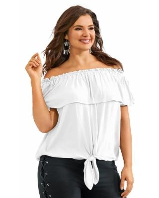 Off-Shoulder Tie Front Top (Size S) White, Rayon