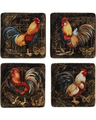 August Grove Friesen Gilded Rooster 4 Piece Dinner Plate Set BF020309
