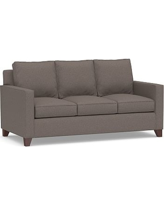 Cameron Square Arm Upholstered Deluxe Queen Sleeper Sofa, Polyester Wrapped Cushions, Performance Brushed Basketweave Charcoal