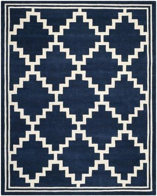 Wrought Studio Wilkin Hand-Tufted Wool Navy/Ivory Area Rug VKGL5234 Rug Size: Rectangle 8' x 10'