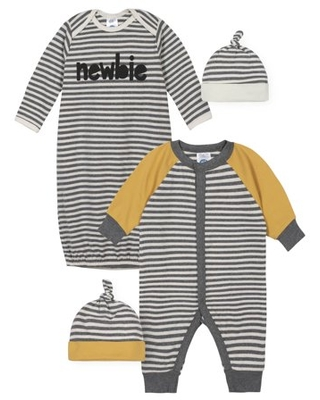 Gerber Baby Boy Coverall, Gown & Caps, 4pc Outfit Set