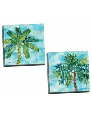 """Bay Isle Home 'Arianna Palm I & II' 2 Piece Watercolor Painting Print Set BF127798 Size: 12"""" H x 12"""" W x 0.75"""" D Format: Wrapped Canvas"""