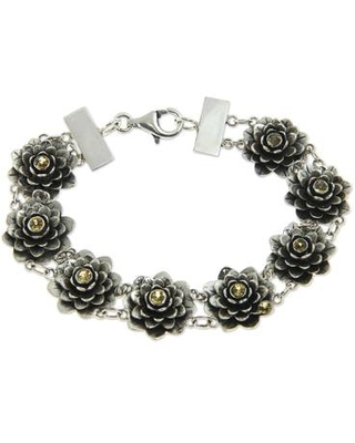 Silver and Citrine Lotus Bracelet Hand Crafted Jewelry