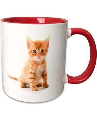 East Urban Home Cute Tabby Kitten Coffee Mug W000577928 Color: Red