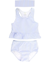 Infant Girl's Rufflebutts Two-Piece Swimsuit & Headband Set, Size 18-24M - Blue