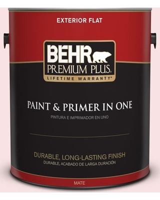 BEHR Premium Plus 1 gal. #RD-W2 Candy Floss Flat Exterior Paint and Primer in One
