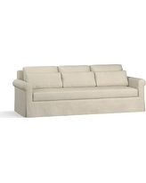 """York Roll Arm Slipcovered Deep Seat Grand Sofa 98"""" with Bench Cushion, Down Blend Wrapped Cushions, Premium Performance Basketweave Oatmeal"""