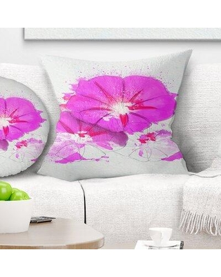 "East Urban Home Floral Flowers Sketch with Color Splashes Pillow FUSI4023 Size: 16"" x 16"" Product Type: Throw Pillow"