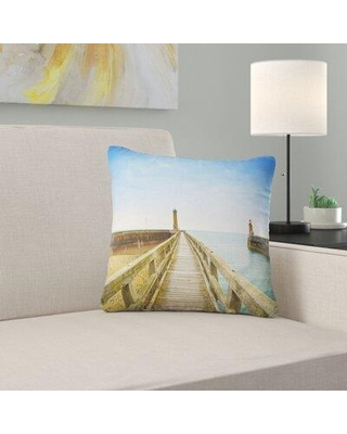 """East Urban Home Seascape Pier and Lighthouse France Pillow FUVD6652 Size: 18"""" x 18"""" Product Type: Throw Pillow"""