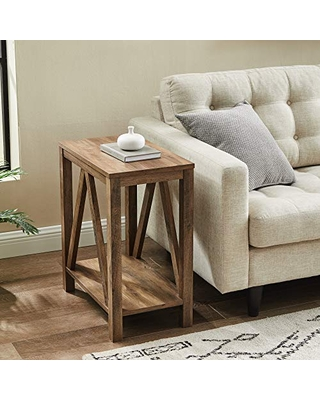 Walker Edison Modern Farmhouse A-Frame Wood Rectangle Side Table Living Room Small End Accent Table 13 Inch, Rustic Oak