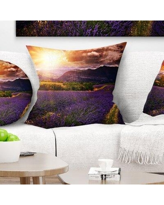 """East Urban Home Floral Beautiful Sunset over Lavender Field Pillow FTIF4999 Size: 16"""" x 16"""" Product Type: Throw Pillow"""