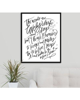"Winston Porter 'Stopping by Woods' Textual Art Print on Canvas W001608363 Format: Black Framed Size: 31.7"" H x 25.7"" W x 1.75"" D"