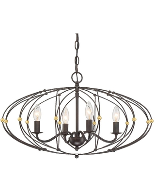 Crystorama Zucca 4-Light English Bronze + Antique Gold Cage Chandelier
