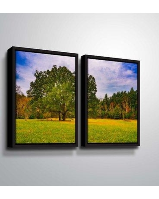 """Winston Porter 'Oak Trees in the Clearing' Photographic Print Multi-Piece Image W000606247 Size: 32"""" H x 48"""" W x 2"""" D Format: Floater Frame"""