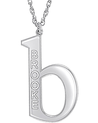 Personalized 28mm Initial Pendant Necklace, White