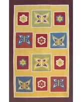 """American Home Rug Co. Kiddie Butterfly Area Rug AT050YLPR Rug Size: 3'6"""" x 5'6"""""""