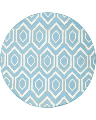 Safavieh Dhurries Blue/Ivory 8 ft. x 8 ft. Round Area Rug