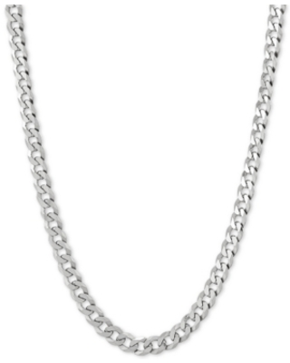 "Flat Curb Link 22"" Chain Necklace in Sterling Silver"