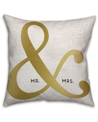 """Mr. & Mrs."" Ampersand 18-Inch Square Throw Pillow in Gold"