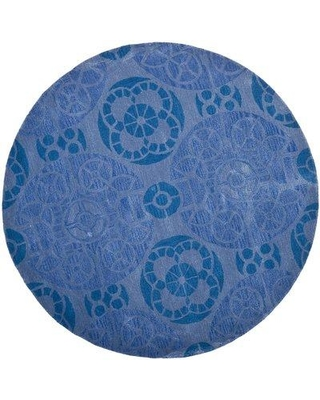 Bungalow Rose Kouerga Hand-Tufted Wool Blue Area Rug W001401591 Rug Size: Round 7'