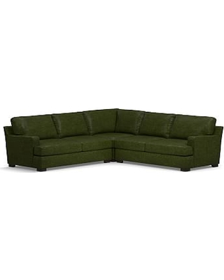 Townsend Square Arm Leather 3-Piece L-Shaped Corner Sectional, Polyester Wrapped Cushions, Leather Legacy Forest Green